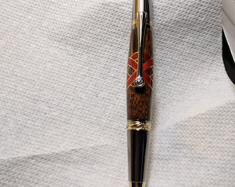 Handmade Red Heartwood Ballpoint Pen with Celtic Cross