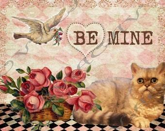 Adorable Kitty Cat Valentine Card/Whimsical/Handmade