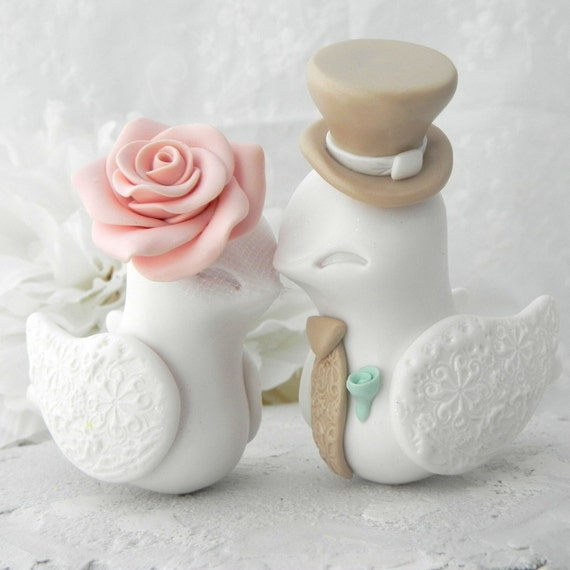 Love Birds Wedding Cake Topper, White, Vintage Pink and Tan, Bride and Groom Keepsake, Fully Customizable