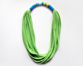 The print necklace - handmade in lime green jersey fabric and print fabric