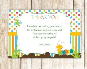 Caterpillar Thank you Card Bugs Thank You Notes Bugs Baby Shower Caterpillar Greeting Card Bugs Birthday Party Printable Thank You Card