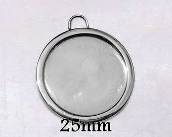 1 x Solid Stainless Steel 25mm Round Cabochon Frame Bezel Pendant Setting