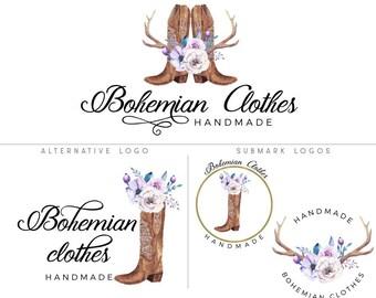 Boho logo design, Boho branding kit, Southern logo design, Country logo, Antler logo, Branding set, Boots logo, Floral logo, Circle logo