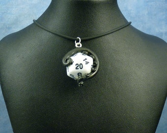 Black and White Sanity Check Necklace - Tentacle Wrapped D20 Pendant