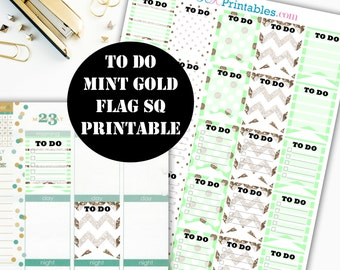To Do Mint Gold Flag Sq Printable Planner Stickers // Erin Condren Printable / Plum Paper Planner / Planner Instant Digital Download 00027