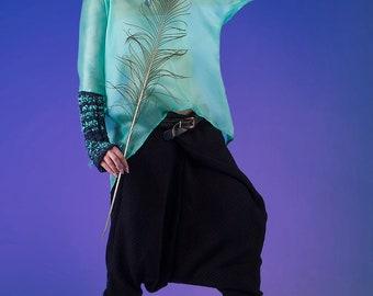 Knitted Jersey Wraparound Drop Crotch Harem Pants