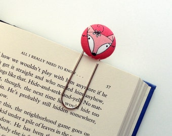Oversized Paperclip Bookmark. Pink Fox. Teacher Gift. Graduation Gift. Ready to Ship.