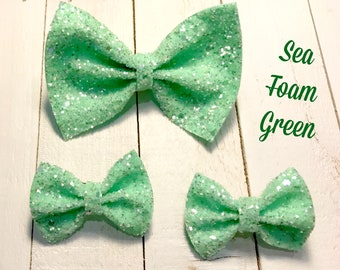 Sea Foam Green Glitter Bow, Sea Foam Green Glitter Piggies, Glitter, Sparkling