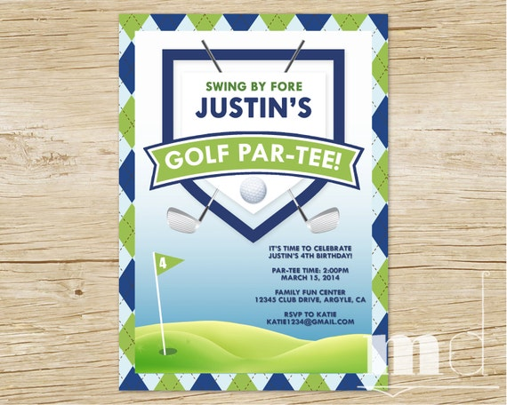 Golf birthday party invitation custom golf thank you card filmwisefo