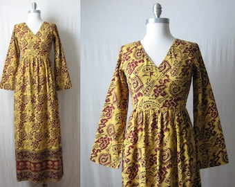 Indian Dress / Block Print Maxi Dress / 60s 70s Ethnic Dress