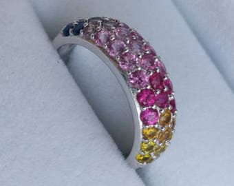 Multi Coloured Silver Ring SALE!!  - Sterling Vintage U.S. Size 6.25. Pave Set, Statement, Dress or Cocktail Ring, Giftboxed