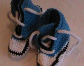 Crocheted Blue All-Star Slippers