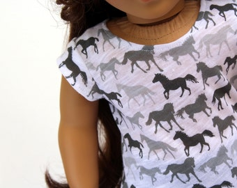 Fits like American Girl Doll Clothes - Wild Horses Tee and Blue Jeggings | 18 Inch Doll Clothes