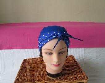 Scarf, turban, chemo headband pirate women's Royal Blue with white polka dots and plain