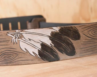 Leather Guitar Strap - Handmade strap for acoustic or electric guitars - Emily pattern with Woodpecker Feathers in Antique black