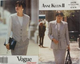 Vintage Vogue Career 2529 Sewing Pattern Jacket, Vest and Skirt, Anne Klein II Size 12, 14, 16 Bust 34, 36, 38 UNCUT