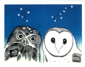Do owls drink tea? - a digital print of an original drypoint etching and lino print