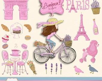 80% OFF BONJOUR PARIS Digital Clipart, Hand Drawn Paris Theme, Bicycle, Lavender, Eiffel Tower, Macarons, Flowers, Lady in a Bike, Poodle