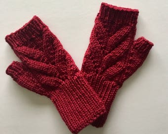 Hand knit merino wool fingerless mitts, red fingerless gloves, hand knit red texting mitts, hand knit gift.