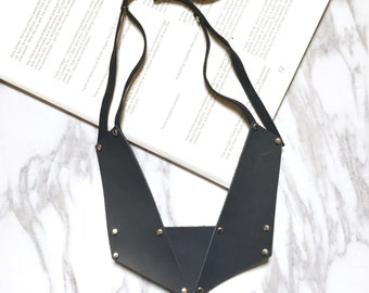 BLACK COLLECTION- Handmade avant garde leather statement necklace, minimalist and geometric design, pendant necklace, eye catching necklace