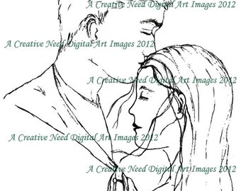 INSTANT Download YOUNG LOVE Digital Stamp Image Cardmaking, Scrapbooking, ATCs, Mixed media,