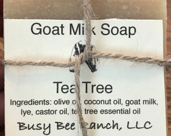 Tea Tree Goat Milk Soap/ Busy Bee Ranch / Tea Tree/ Essential Oil / 5 oz bar