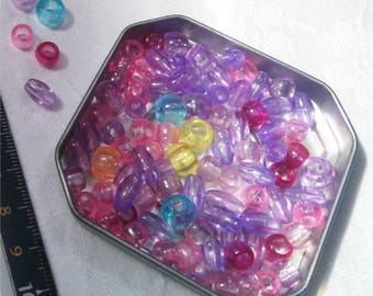 Assorted 6-9 mm transparent beads
