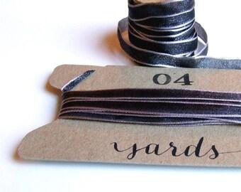 Dark Silver Ribbon, 4 yards of Woven Iridescent Ribbon, Shimmering 1/4 inch Gift Wrapping Ribbon, Holiday Packaging Ribbon, Metallic Silver