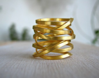 Wide Wrap Ring / Gold Wrap Ring/ Gold Plated Wraparound Ring / Index Finger Ring /  armor ring / Armor Ring / Chunky gold Ring