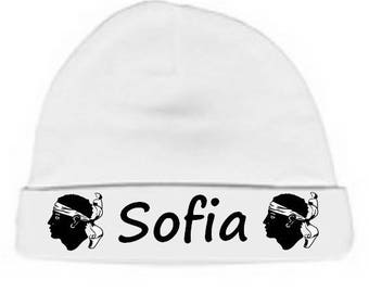 Personalized with name White Corsica baby bonnet