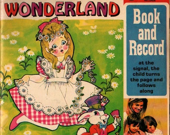 Alice in Wonderland Book and Record + Peter Pan Records + Vintage Kids Book