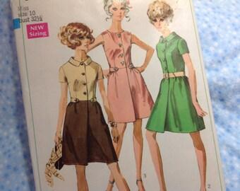 Vintage Simplicity Pattern 7982- Dress Pattern, 60's dress pattern, Size 10 pattern