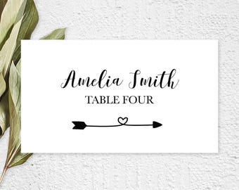 folded wedding place card, wedding place cards pdf, rehearsal dinner place cards, bridal shower placecards, place cards rustic, ISP063