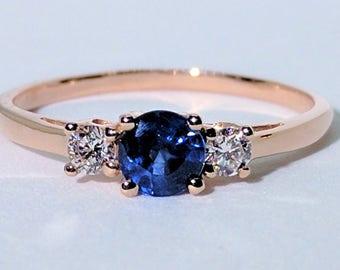 Three-Stone Blue Sapphire Diamond Ring  Blue Sapphire Ring  Diamond Ring  Engagement Ring  18k Gold Ring  Rose Gold Ring  Anniversary Gift