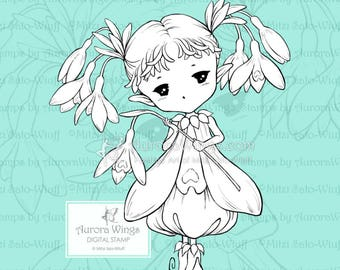 PNG Snowdrops Sprite - Aurora Wings Digital Stamp - Fairy of Snowdrop Flowers - Fantasy Line Art for Arts and Crafts by Mitzi Sato-Wiuff