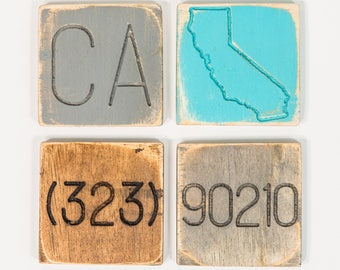 Engraved Wooden Local Love Coasters, Personalized with your State, State Abbreviation, Area Code and Zip Code