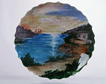 """Handmade Handpainted Turkish Ottoman Ceramic Plate 11"""" (27cm) Diameters Sea View"""