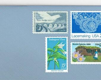 Posts (5) 2 oz wedding invitations - Blue lace unused vintage postage stamp sets (2 ounce 71 cent rate)