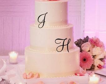 Triple Monogram Initial Letter Wedding Cake Topper