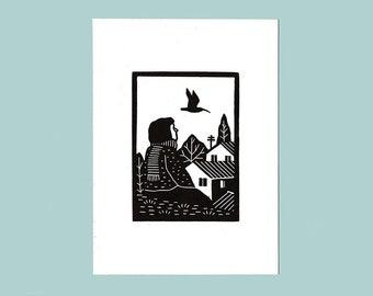 Birdwatching linocut print