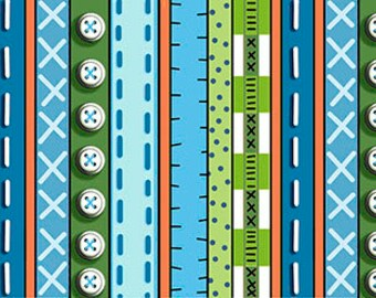 Patchwork Farms by Desiree Designs - Quilting Treasures - Fun animals & from the farm! Per Yard - Border Print blue and Green