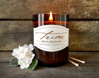Vanilla Musk, Wine Bottle Candle, Scented Candle, Small Batch, Unisex Candle, Earthy Scent, Amber Container, Eco Friendly, Wine Decor Gifts
