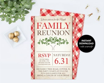 Printable Family Reunion Invitation, Editable PDF Template, Family Tree Party Invite, BBQ, Family Picnic, Family Summer Party, Block Party