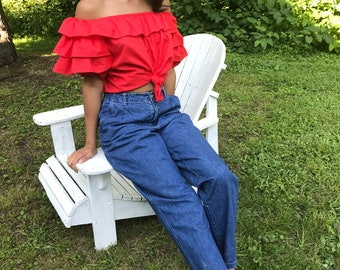 red ruffle top / off shoulder / s - l