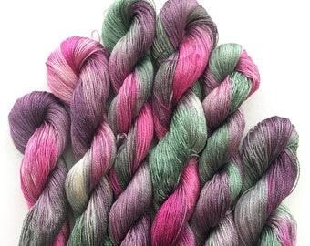 Dahlia Hand Dyed Silk Thread 200M Pink Green Skein