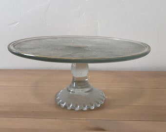 Vintage Glass Harp Designed Cake Stand with Gold Trim