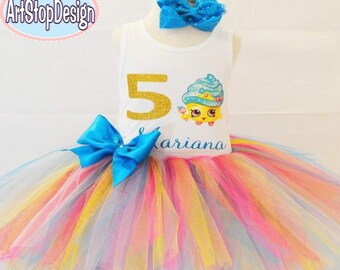 Shopkins cupcake Birthday Girl Outfit,FREE SHIPPING,cupcake tutu set,birthday,cupcake birthday,birthday girl,birthday outfit,colorful tutu