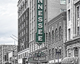 Tennessee Theatre Knoxville Sign Marquee Print Selective Color Landmark City Urban Knoxville Tennessee Americana Art Photo