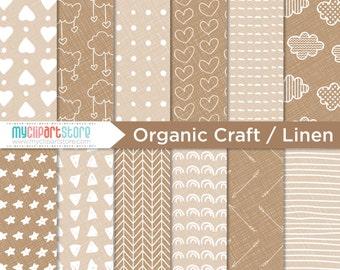 Digital Paper - Hand Drawn, Organic Kraft, Hipster, Craft Paper, Linen Texture Scrapbook Paper, Digital Pattern, Commercial Use, JPEG