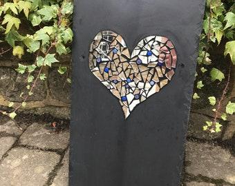 Mosaic heart on slate